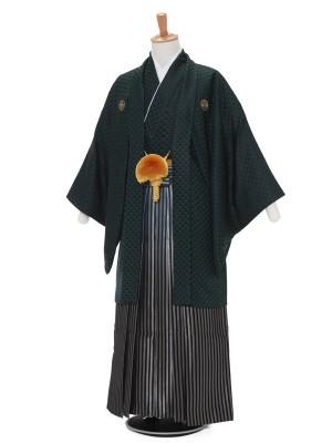 男性用袴レンタル2089紋付 グリーン鱗紋×グリーン太縞