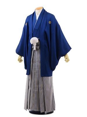 男性用袴レンタル2048紋付紺刺子×ブルーイエロー縞