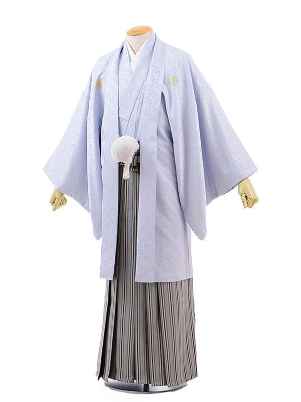 男性用袴レンタル2063紋付ブルーグレー向鶴×グレー菱地紋黒太縞