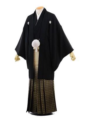 男性用袴レンタル2015 黒紋付×金松葉ぼかし