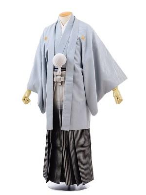 男性用袴レンタル2068紋付グレー菱型×ライとグレー黒ぼかし