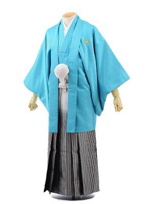 男性用袴レンタル2058紋付ブルー×銀黒シルバー