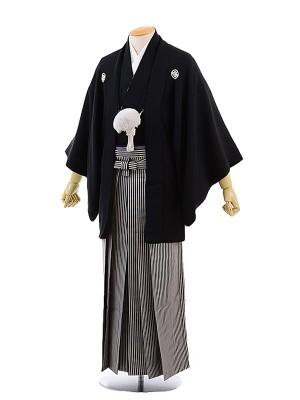 男性用袴レンタル2038紋付黒×黒縞