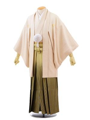 男性用袴レンタル2065紋付シャンパン×グリーンぼかしゴールド