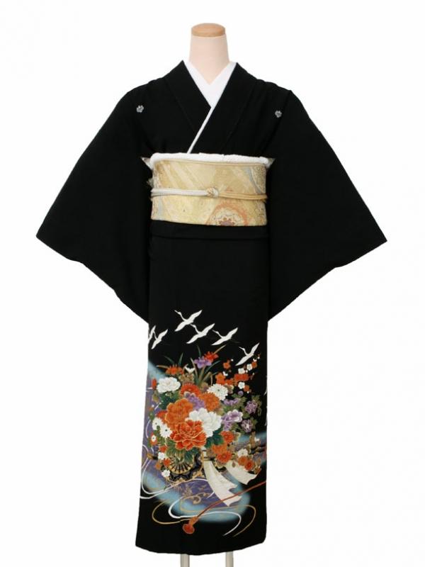 黒留袖0161花車に鶴