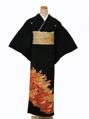 黒留袖0044オレンジ梅にツル