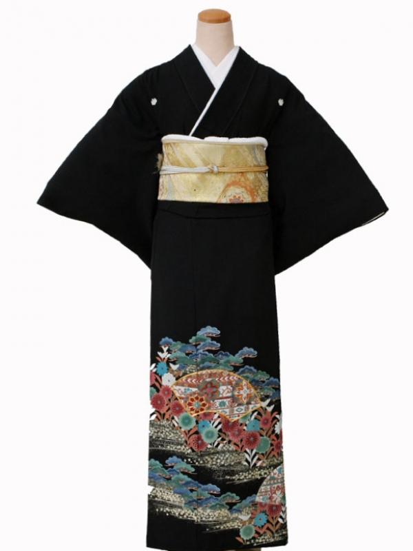 黒留袖0081松菊扇面
