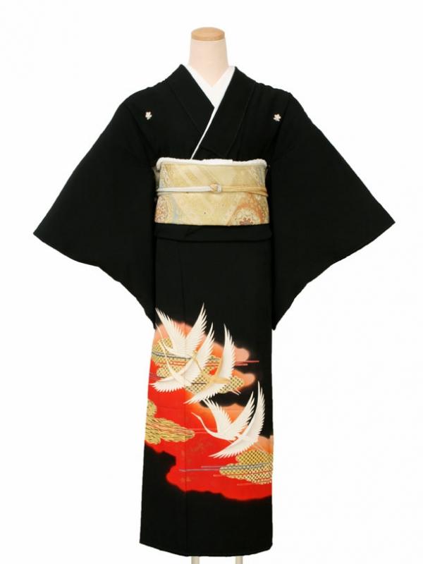 黒留袖0038夕焼けに鶴