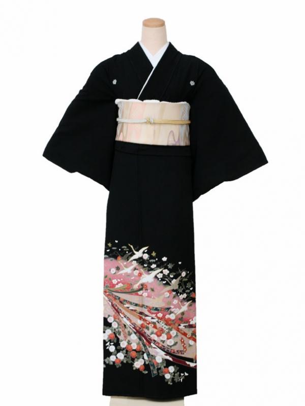 黒留袖0147ピンク地のし鶴