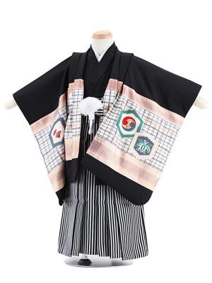 七五三(3歳男袴)M306 黒地竜兜/黒仙台縦