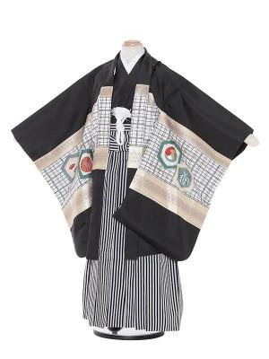 七五三(7歳男袴)M721 黒地備前兜/黒縦縞