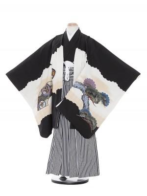 七五三(7歳男袴)M722 黒地タカ風神/黒縦縞