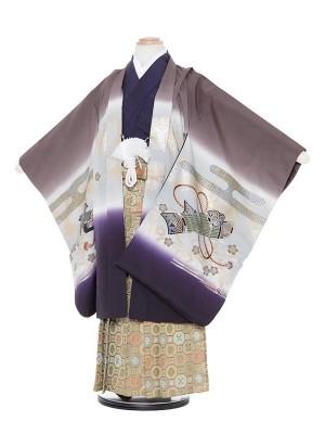 七五三(5歳男袴)M555 グレー×濃紫兜/蜀江
