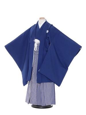 七五三(7歳男袴)M708 紺無地/紺仙台縦縞