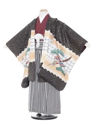 七五三(5歳男袴)M534 黒地鷹兜/黒子持ち