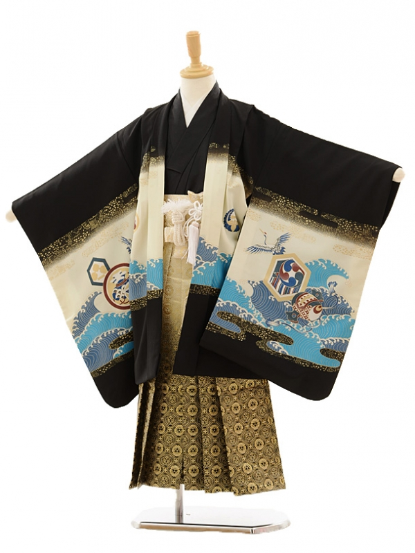 七五三(5歳男袴)M508 黒鷹に宝舟×ゴールド黒