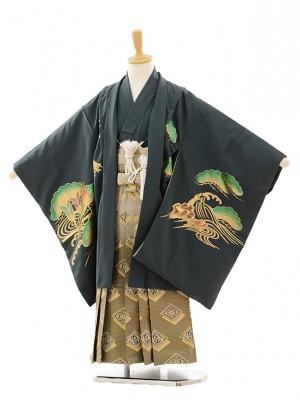 七五三(5歳男袴)M502 錦鷹グレー×ゴールド菱