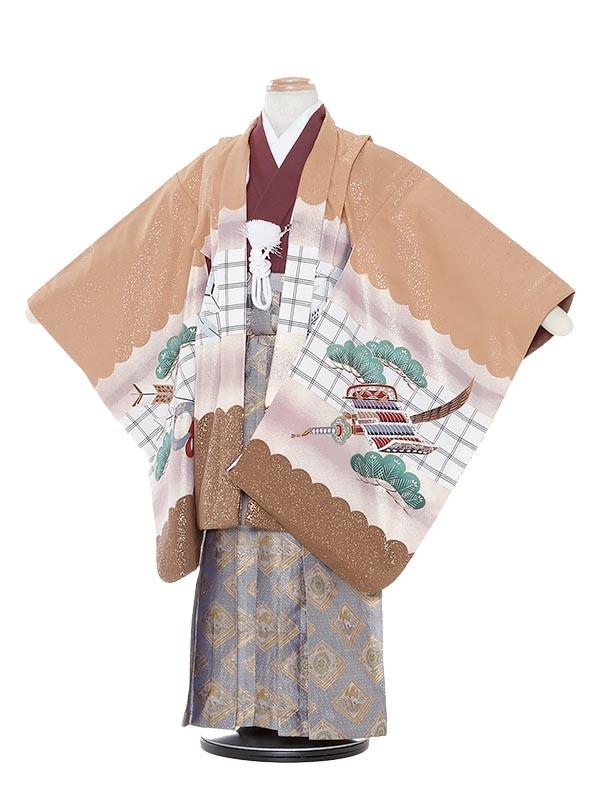 七五三(5歳男袴)M541 薄茶色地兜/蜀江紋