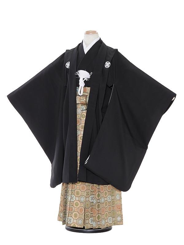 七五三(7歳男袴)M727 黒無地/蜀江紋袴