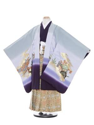 七五三(7歳男袴)M712 グレーx紫若武者/蜀江