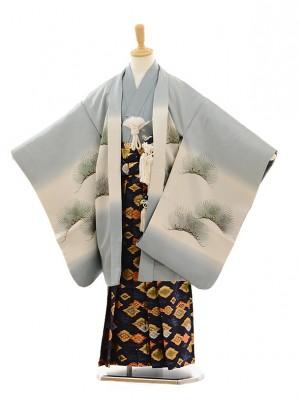 七五三(7歳男袴)M702 グレーシルバー富士×紺菱