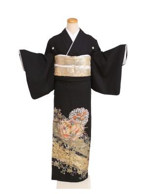 黒留袖004黒/鳳凰・蔦