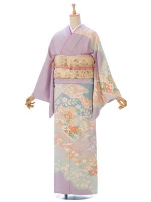 訪問着2L769 【正絹】薄紫 水色ぼかし 四季草花
