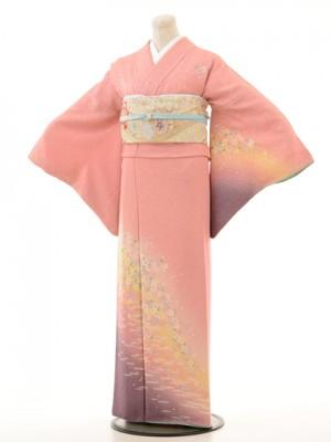 訪問着f007裾紫ピンク桜