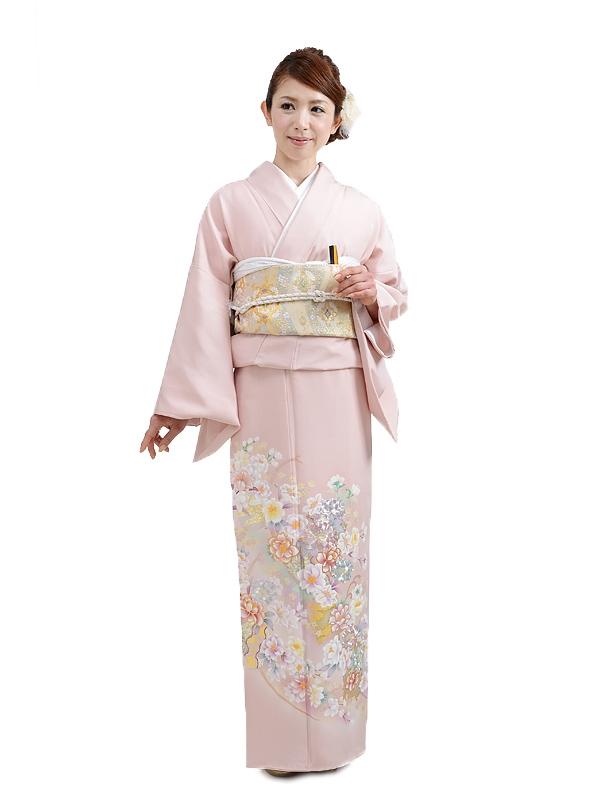 色留袖レンタル602サーモンピンク多色花刺繍
