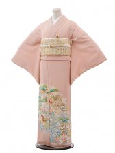 色留袖レンタル639サーモンピンク花づくし