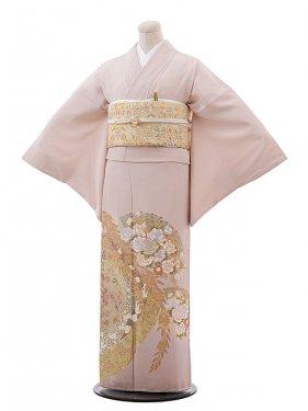 色留袖レンタル660桂由美ピンク地バラ