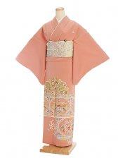 色留袖レンタル631サーモンピンク 更紗