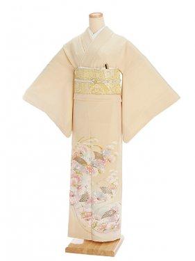 色留袖レンタル603クリームベージュ扇子花