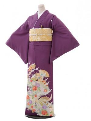 色留袖レンタル700紫地扇に飛鶴
