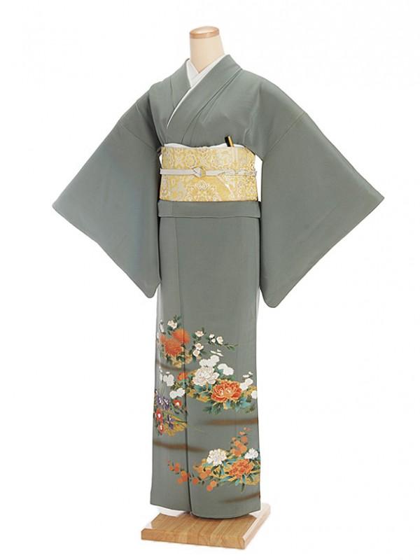 色留袖レンタル521青竹緑に四季花