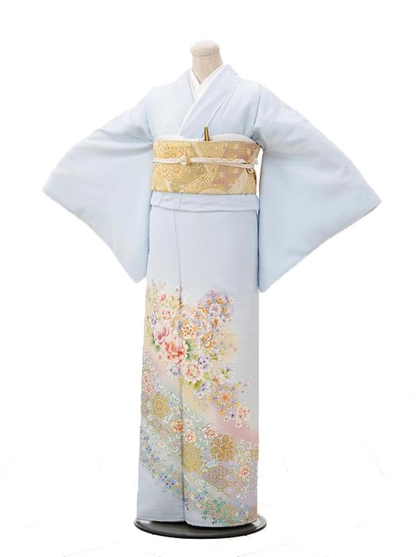色留袖レンタルQ661水色葵の絆