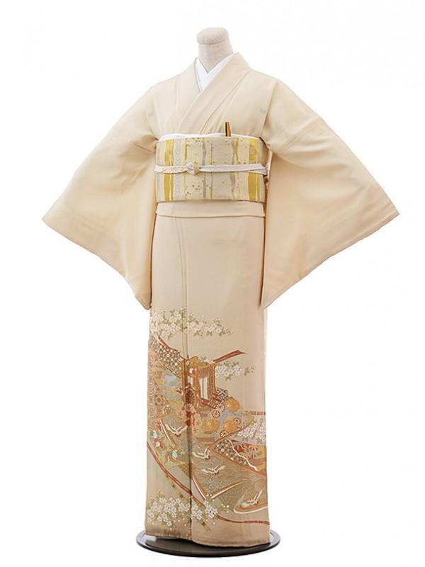 色留袖レンタル654桂由美クリーム色御所車と桜