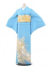 色留袖676桂由美 水色レース花