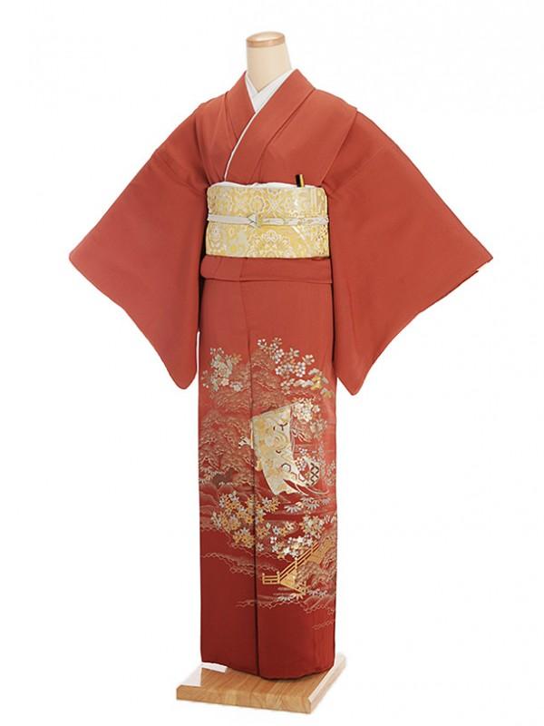 色留袖レンタル418薄あずき色地金彩柄