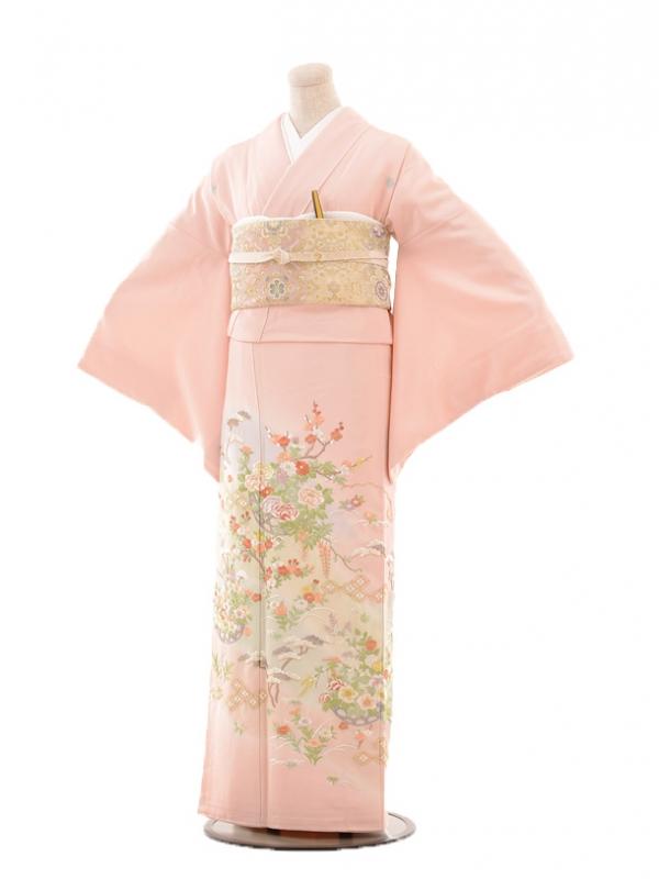 色留袖レンタル688友禅手刺繍ピンク