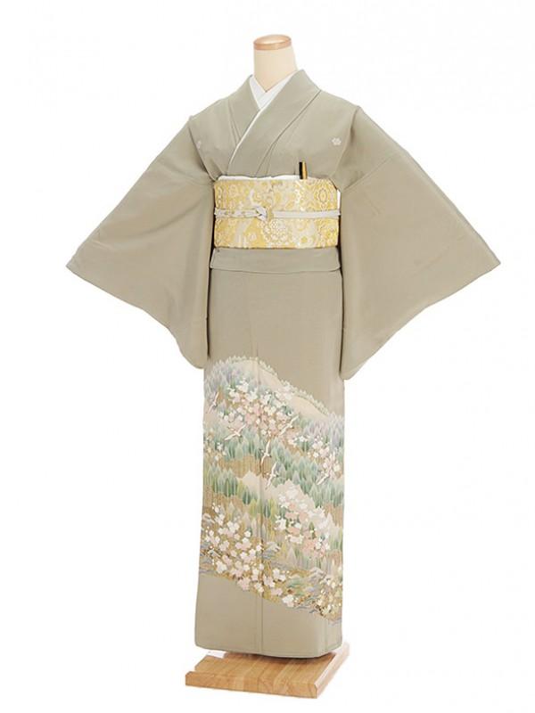 色留袖レンタル624モスグリーン遠山桜鶴
