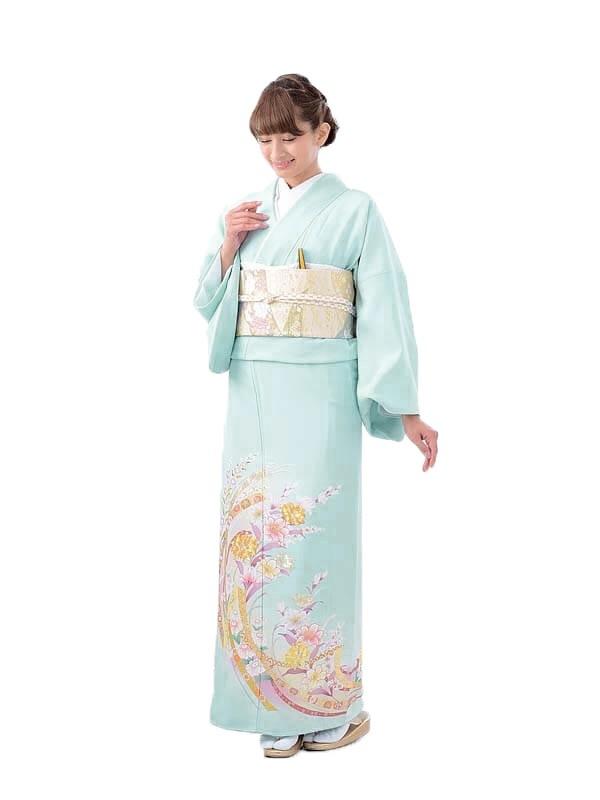 色留袖レンタル644水色花熨斗