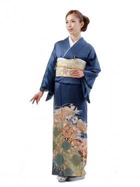 色留袖レンタル506紺四季花