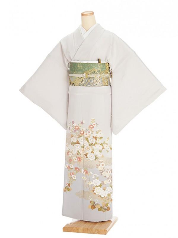 色留袖レンタル673薄グレー地菊