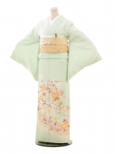 色留袖レンタル685パステルグリーン花