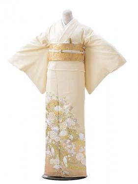 色留袖レンタル618桂由美クリーム地バラカラー