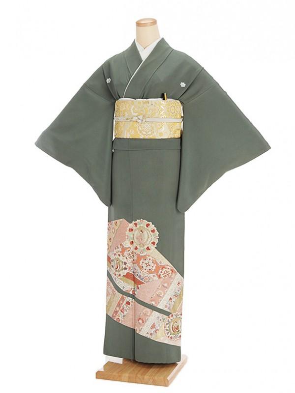 色留袖レンタル627老竹色裏鏡鳳凰