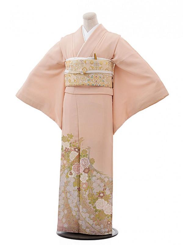 色留袖レンタル611桂由美ピンク孔雀