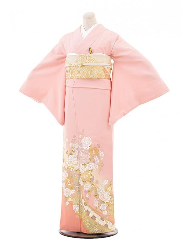 色留袖レンタル679桂由美 ピンクリボンバラ