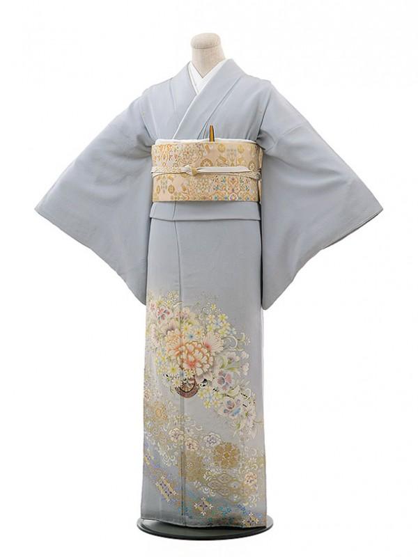 色留袖レンタル615淡藤色に花車